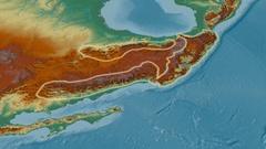 Revolution around Sierra Madre mountain range - glowed. Relief map Stock Footage