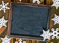 Christmas decoration and black board for note Stock Photos