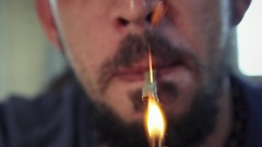 Hispanic Man Smoking Hashish Joint Marijuana Cigarette For Fun Stock Footage