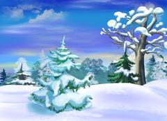 Snow Covered Spruce  in a Winter Forest Clearing Stock Illustration