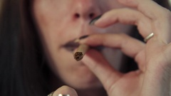 Latina Woman With Lighter Smoking Hashish Joint Marijuana Cigarette Stock Footage