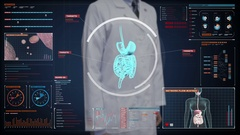 Doctor touching  body scanning internal organs, Digestion system in digital. Stock Footage