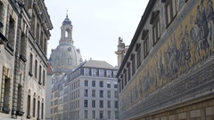 Dresden Frauenkirche lutheran church dome, mural, cityscape, Germany Stock Footage
