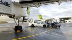 Luggage loading to the aircraft Stock Footage