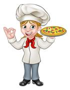 Pizza Chef Woman Cartoon Character Stock Illustration