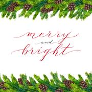 Merry and Bright text on watercolor christmas border Piirros