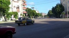 Road traffic with old American cars at the 23th Avenue. Vedado, Havana, Cuba Stock Footage
