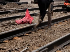 Railway workers bolting track rail Stock Footage