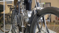 Vintage black motorcycle motorbike Stock Footage