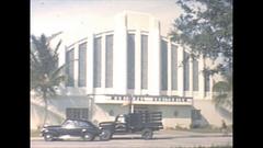 Vintage 16mm film, 1946, Florida Sarasota Auditorium Downtown, Stock Footage