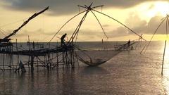 Pak Pra Village, Net Fishing Thailand Stock Footage