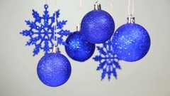 Christmas blue balls background Stock Footage