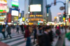 Abstract blur crowd people on crosswalk at Shibuya town Stock Photos