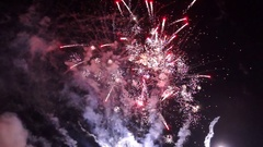 Holiday bright fireworks in sky Stock Footage