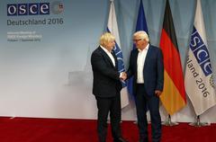 Federal Foreign Minister Dr Frank-Walter Steinmeier welcomes Boris Johnson Stock Photos