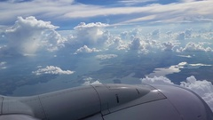 Jet Engine Flying through Clouds Stock Footage