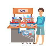 Man Shopping For Fresh Seafood, Shopping Mall And Department Store Section Stock Illustration