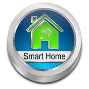 Smart Home Button - 3D illustration Stock Illustration