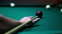 To hit the cue ball Stock Footage
