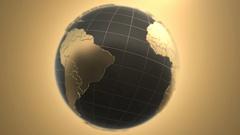 Beautiful Golden Rotating Globe Stock Footage