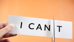 I can motivational word business success attitude think positive Stock Footage