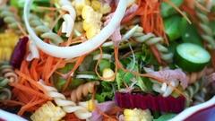 Low carb tuna salad. Colorful healthy fresh food from organic farm Stock Footage