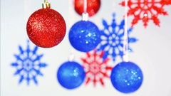 Christmas and New Year blurry blue and red bright color shining beautiful balls Stock Footage