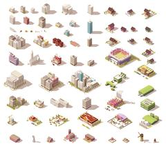 Vector isometric low poly buildings and houses Stock Illustration