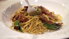 Italian pasta, Spaghetti with garlic, oil and chilli Stock Footage