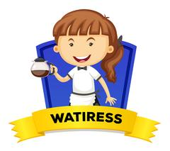 Occupation wordcard with waitress Stock Illustration