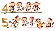 Counting number four and five with monkeys Stock Illustration
