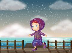 Girl running in rain at the pier Stock Illustration
