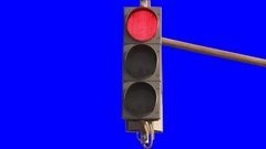 Traffic light road real. Isolated. green blue screen, chroma key Stock Footage