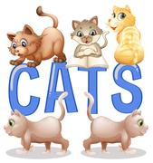 Font design with word cats with many kittens in background Stock Illustration