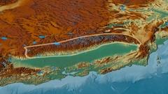 Revolution around Sierra Nevada mountain range - glowed. Relief map Stock Footage
