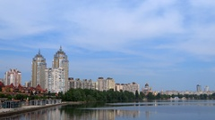 The buildings in a new Obolon district in Kiyv, Ukraine. Stock Footage