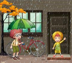 Rainy season with two boys in the rain Stock Illustration