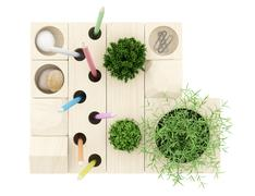 Top view of wooden desk organizer with office supplies isolated on white ba.. Stock Illustration