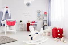 Baby room with strong color accents Stock Photos