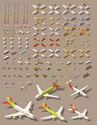 Vector isometric low poly transport set Stock Illustration