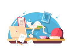 Cute cat and mess in workplace Stock Illustration