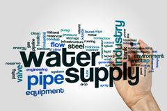 Water supply word cloud Stock Photos