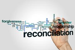 Reconciliation word cloud Stock Photos
