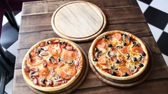 Ready pizza from oven Stock Footage