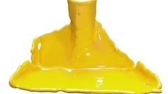3d render liquid yellow car paint filling up screen, luma matte is included, use Stock Footage