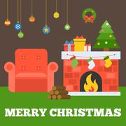 Merry christmas typographic design with fireplace Piirros