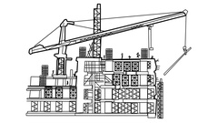 Under construction building sketch animation with transparent background Stock Footage