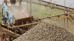 Plant for the separation of river gravel industrial background Stock Footage