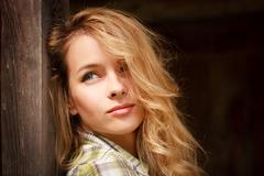 Portrait of Dreamy Romantic Hipster Girl Outdoors Stock Photos