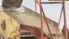Stone crusher machine processing plant for crushed stone, sand and gravel Stock Footage